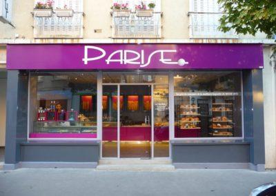 Enseigne bandeau et habillage de façade en tolerie aluminium boulangerie PARISE