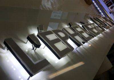 Enseigne lumineuse avec rétro éclairage sur fond en tolerie aluminium entreprise L'EPHEMERE ALPHA B