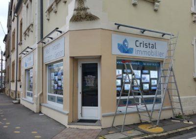 Enseignes bandeaux avec rampes lumineuses agence immobilière CRISTAL IMMOBILIER