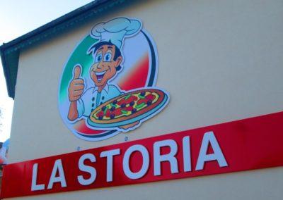 Logo découpé et enseigne lumineuse restaurant LA STORIA