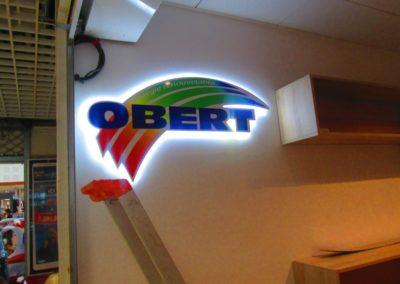 Fabrication et pose d'une enseigne logo lumineuse entreprise OBERT