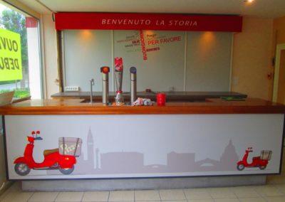 Impression numérique sur Dibond pour bar du restaurant LA STORIA
