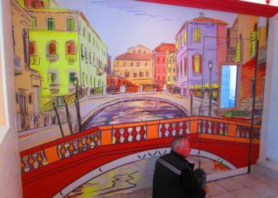 Impression numérique sur Dibond pour décor mural restaurant LA STORIA