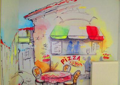 Impression numérique sur panneau Dibond pour création du décor mural du restaurant LA STORIA
