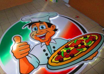 Logo rétro éclairé pizzeria LA STORIA